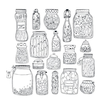 Set of pickled jars with vegetables, fruits, herbs and berries on shelves. autumn marinated food. contour illustration.