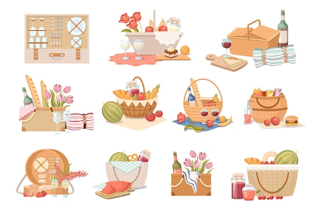 Set picnic baskets and hampers with food, items for outdoor summer recreation. traditional wicker boxes with fruits, vegetable, wine and milk drinks, bakery and flowers. cartoon vector illustration
