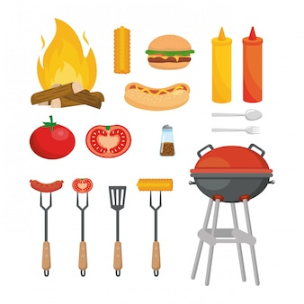 Set of picnic food snack with grilled