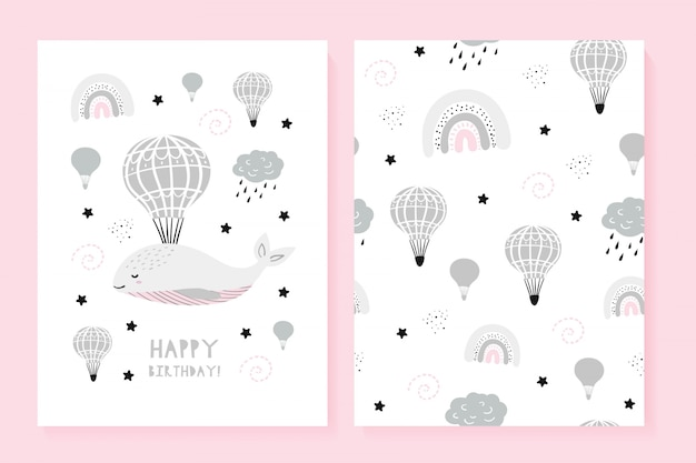 Set of a picture and a pattern with a cute whale