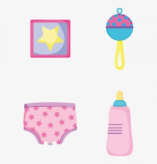 Установить картину с детской погремушкой и бутылочкой для кормления с подгузником