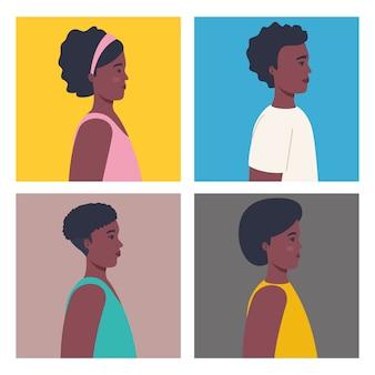 프로필 젊은 아프리카 사람들의 사진을 설정합니다. 프리미엄 벡터