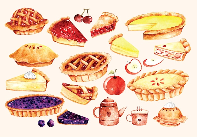 Set of pie cake in water color style