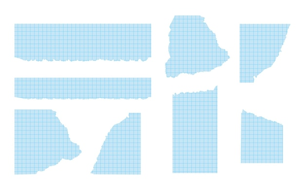 Set of pieces of torn blue graph paper of various shapes ripped paper templates with frayed edge che...