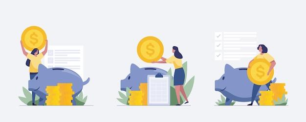 Set piggy bank concept with woman. illustration vector