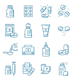 Set of pills, capsules, and medicine icons with outline style