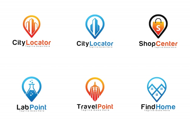 Set of pin location logos