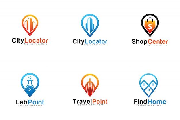 Set of pin location logos