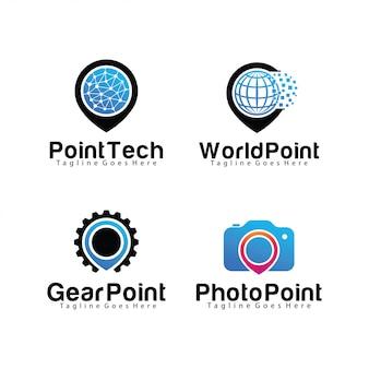 Set of pin logo template