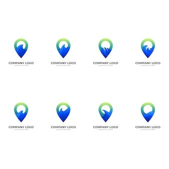 Set pin wave logo, pin and wave, combination logo with  blue and green color style