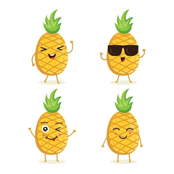 Set of pineapple fruit character in different action emotion