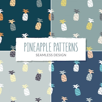 Set of pineapples patterns.