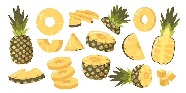 Set of pineapples, ripe healthy organic product design elements, fresh tropical plant. whole, half and sliced natural fruit with juicy pulp isolated on white background. cartoon vector illustration