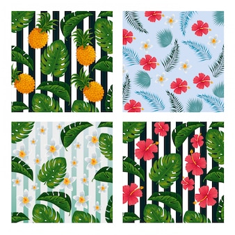 Set pineapples with flowers and leaves vintage background