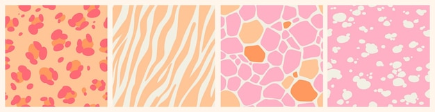 Set of pink abstract seamless patterns with animal skin texture. leopard, giraffe, zebra, dalmatian skin print.