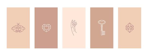 세트 핑크와 누드 스토리 하이라이트는 나비, 다이아몬드, 손 및 열쇠의 윤곽을 나타냅니다. 소셜 미디어 스토리를 위한 최소한의 트렌디한 스타일 템플릿의 추상 모바일 배경. 벡터
