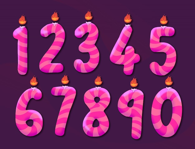 Set of pink birthday candles numbers