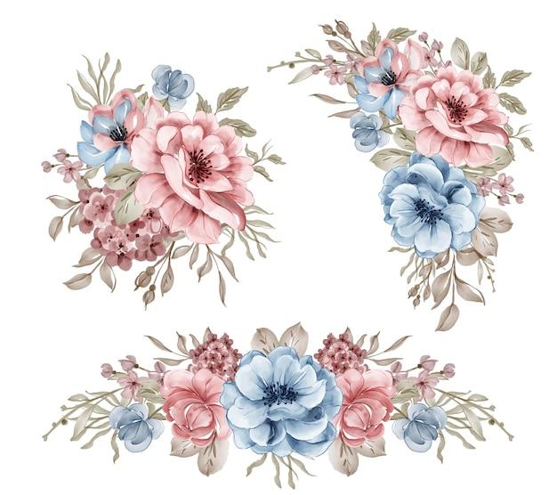 Set of pink blue flower arrangement watercolor illustration
