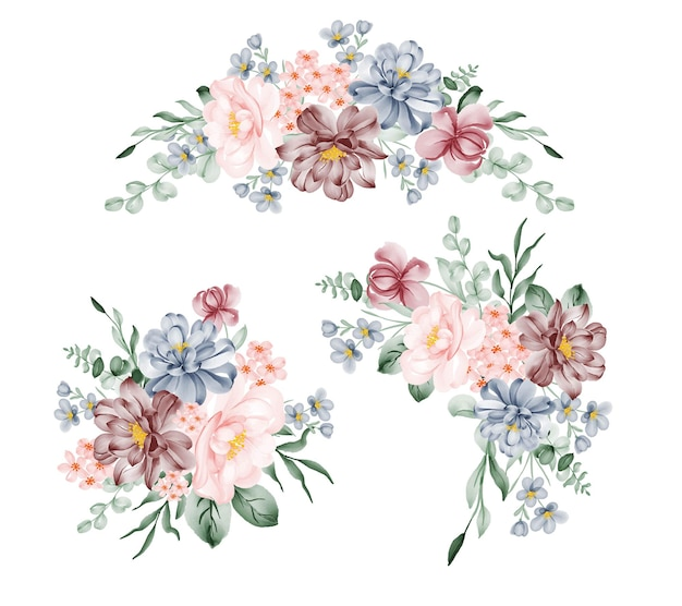 Set of pink blue flower arrangement watercolor illustration