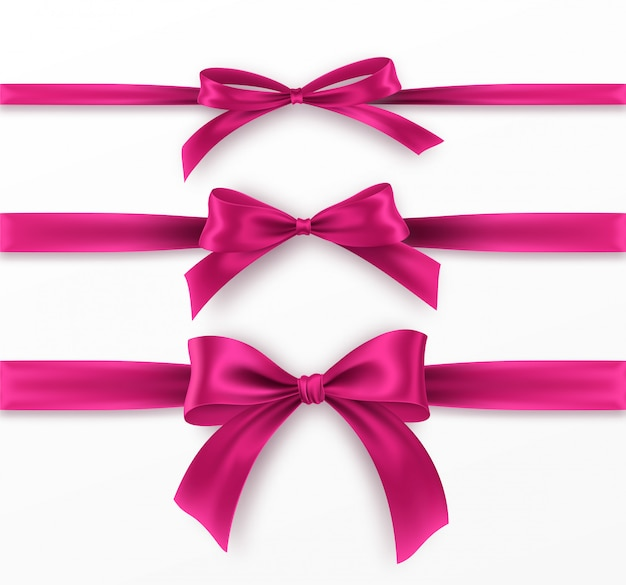 Set pink bow and ribbon on white background. realistic pink bow.