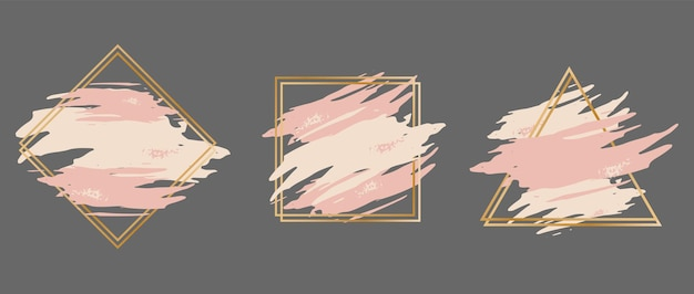 Set of pink brush strokes in a gold frame in the form of a triangle square and rhombus