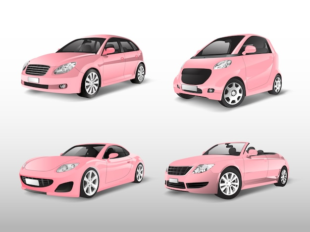 Set of pink car vectors
