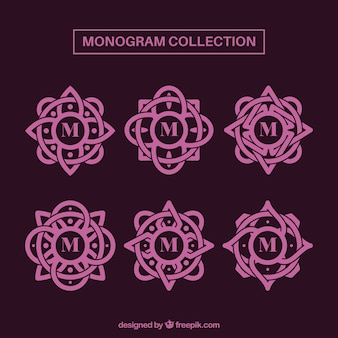 Set di monogrammi decorativi rosa