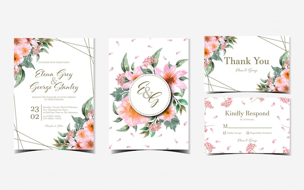 Set of pink floral wedding invitation with gorgeous flowers