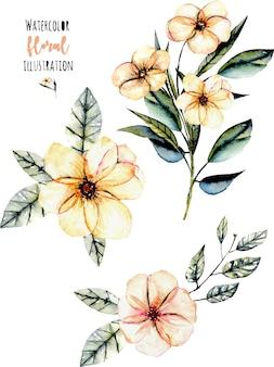 Set of pink flower bouquets illustration