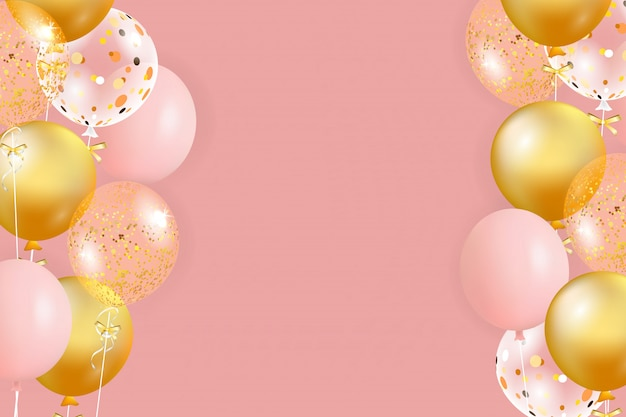 Set of pink, golden balloons with empty space for text. celebrate a birthday, poster, banner happy anniversary. realistic decorative design elements. festive background with helium balloons.