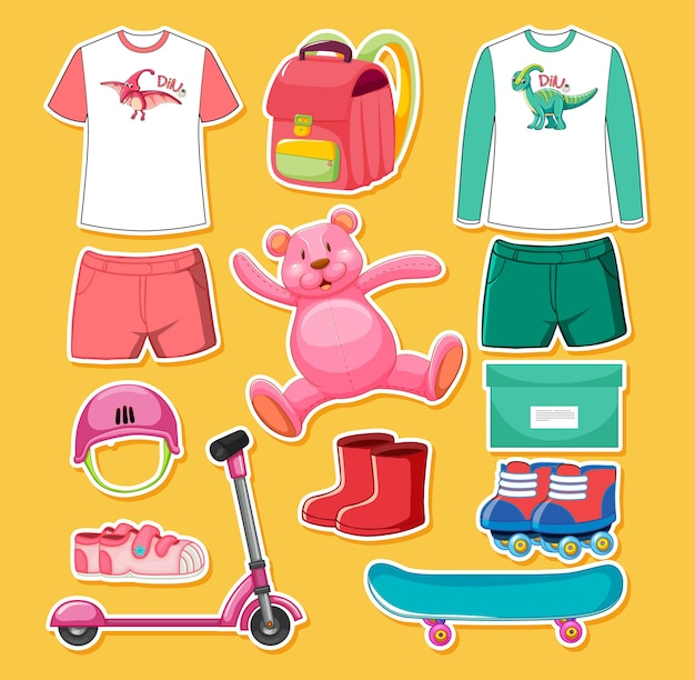 Set of pink and green color toys and clothes isolated