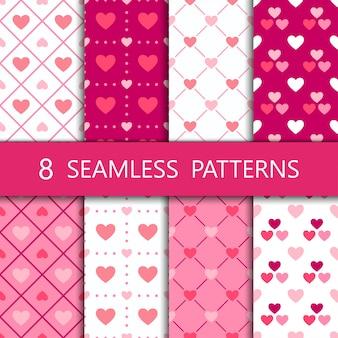 Set of pink heart seamless pattern