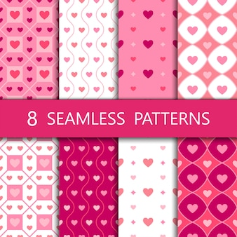 Set of pink heart seamless pattern