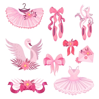 Set of pink illustrations with ballet theme