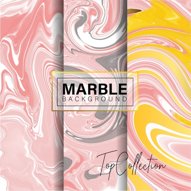 Set of pink marble texture design