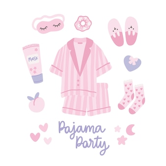 Set of pink pajama party accesories with lettering on white background