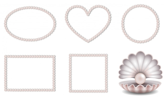 Set of pink pearls frames and shell with pink pearl