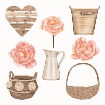 Set of pink roses and wooden objects
