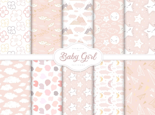 Set of pink seamless patterns for little baby girl nursery