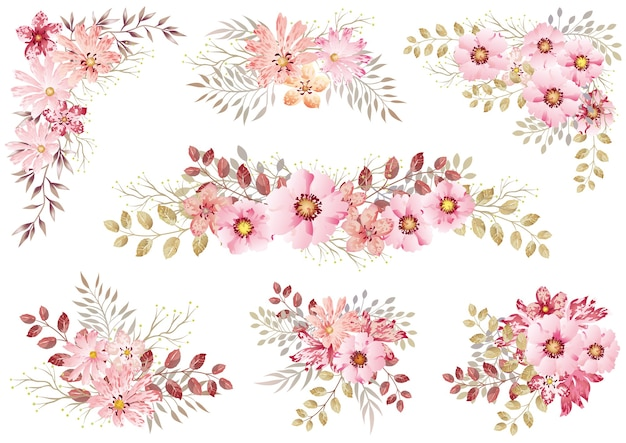 Set of pink watercolor floral elements isolated on a white