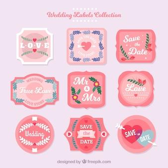 Set di etichette di matrimonio rosa