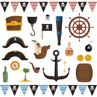Set of pirate attributes for the holiday in a cartoon style.