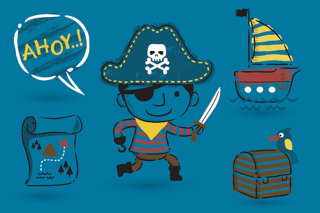 Set of pirate cartoon theme set