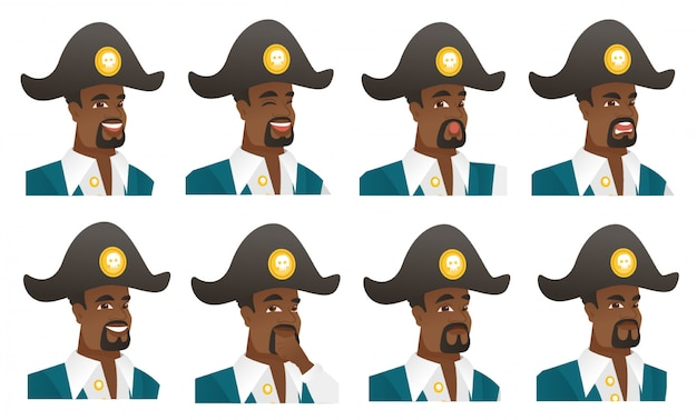 Set of pirate characters.