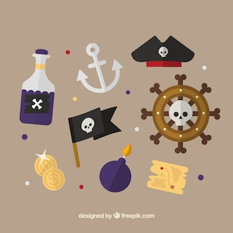 Set of pirate elements in flat design