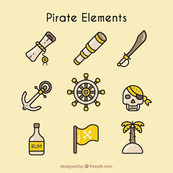 Set of pirate elements in linear style