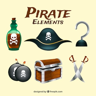 Set of pirate elements in realistic style