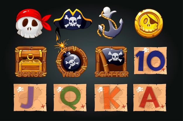 Set di icone pirata per slot machine. monete, tesori, teschio, simboli dei pirati.