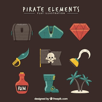 Set of pirate objects in vintage style