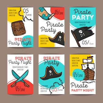 Set of pirate party flyers